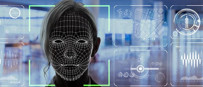 Ilustração gráfica de controle de acesso sem contato em forma de reconhecimento facial