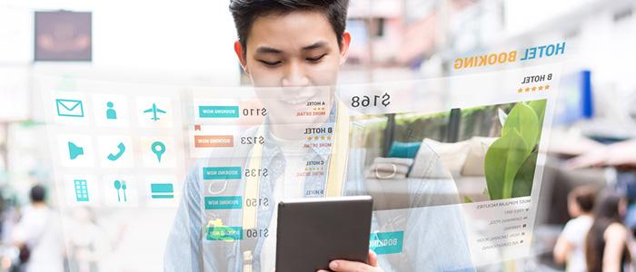Ilustração gráfica de homem jovem mexendo em celular.
