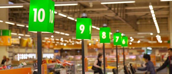 Automação comercial: Caixas de supermercado.